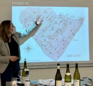 Photo des vins de Bourgogne présentés par Mme Depuis aux étudiants de BTS