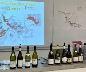 Photo des vins de Bourgogne présentés aux étudiants de BTS MHR