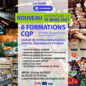 formations CQP métiers du commerce, Ouverture de six formations CQP métiers du commerce, Ecoles de la CCI Dordogne