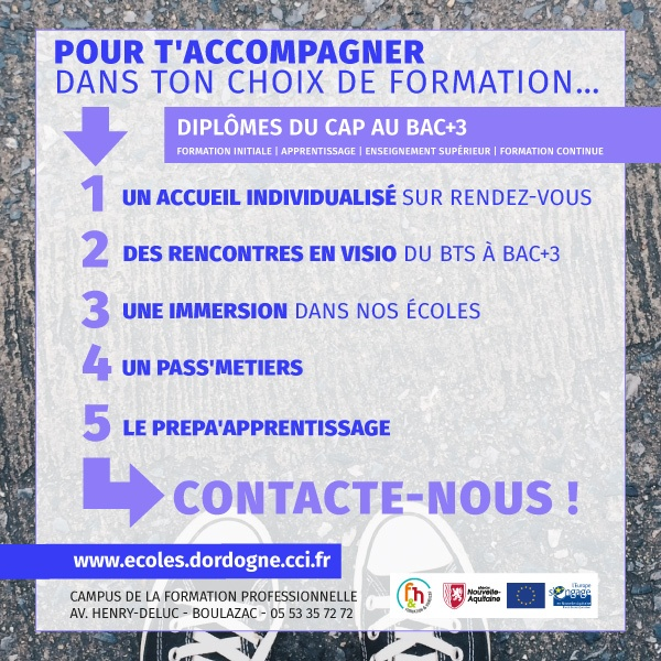 Pour ton orientation, 5 solutions sur-mesure aux écoles CCI Dordogne !